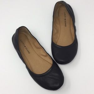 Lucky Brand Erin Black Leather Flats